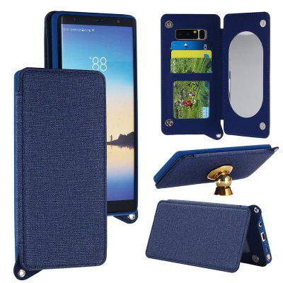 Double Magnetic Rivet Closure Jeans Cloth Texture Leather Wallet Case for Samsung Galaxy Note 8