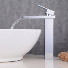Chrome Contemporary Waterfall Bathroom Sink Lavatory Vessel Mixer Faucet