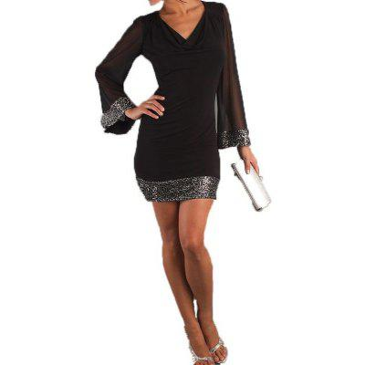 Women Sexy V-neck Sheer Long Sleeve Summer Clubwear Party Evening Office Wear Mini dressBodycon Dresses<br>Women Sexy V-neck Sheer Long Sleeve Summer Clubwear Party Evening Office Wear Mini dress<br>