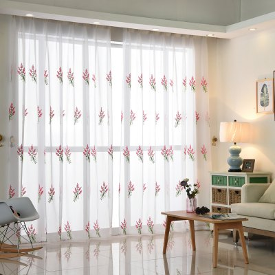 Buy Korean Pastoral Style Living Room Bedroom Children's Room Lavender Embroidery Curtain Grommet PINK for $62.43 in GearBest store