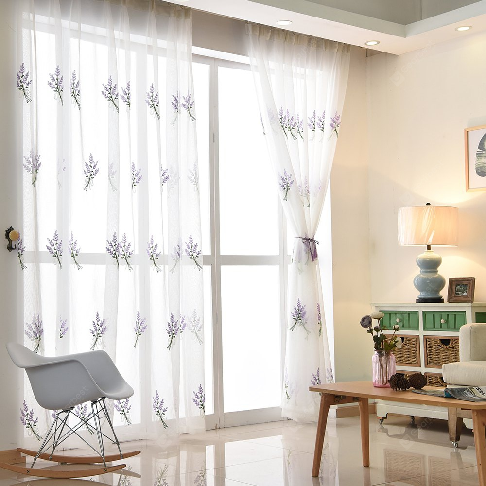 Korean Pastoral Style Living Room Bedroom Children's Room Lavender Embroidery Curtain Grommet PURPLE