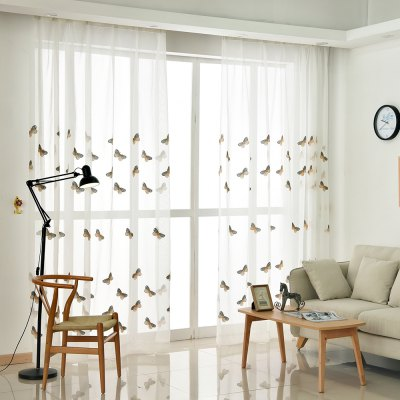 Korean Pastoral Style Living Room Bedroom Children's Room Butterfly Embroidered Curtains Grommet 2PCS