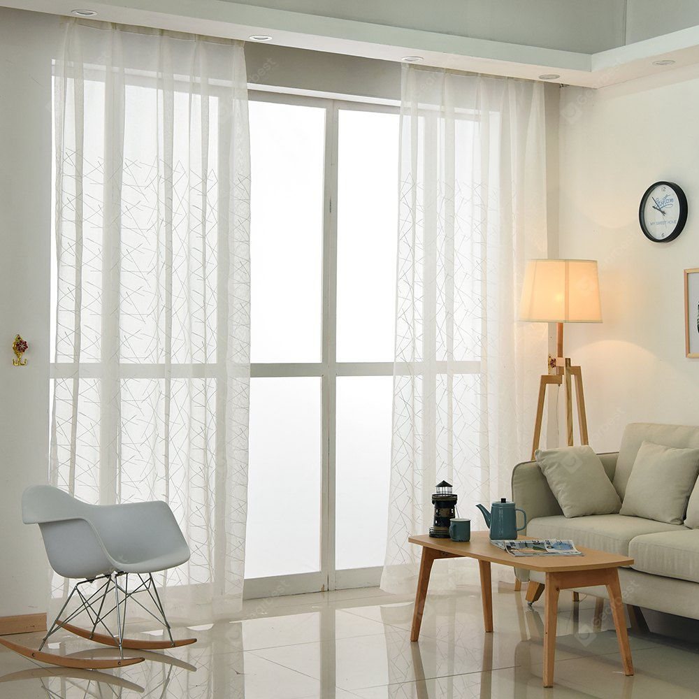 European Minimalist Style Living Room Bedroom Vertical Stripes Embroidered Curtain Grommet 2PCS WHITE