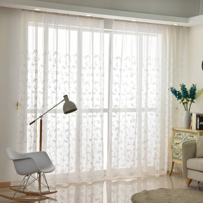 Buy Korean Pastoral Style Living Room Bedroom Restaurant Embroidered Curtain Grommet 2PCS WHITE for $44.19 in GearBest store