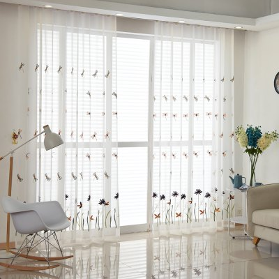 Korean Pastoral Style Living Room Bedroom Children Room Dragonfly Embroidered Curtains Grommet 2PCS