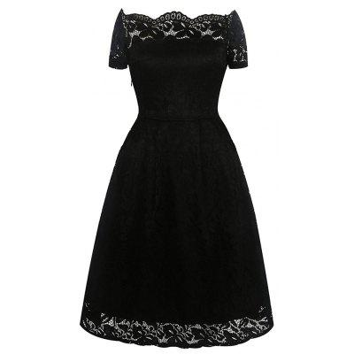 2017 Summer Embroidery Sexy Women Lace Off Shoulder  Short Sleeve Casual Evening Party A Line Formal DressWomens Dresses<br>2017 Summer Embroidery Sexy Women Lace Off Shoulder  Short Sleeve Casual Evening Party A Line Formal Dress<br><br>Dresses Length: Knee-Length<br>Elasticity: Elastic<br>Fabric Type: Lace<br>Material: Polyester, Spandex, Lace<br>Neckline: Off The Shoulder<br>Package Contents: 1 x Dress<br>Pattern Type: Solid<br>Season: Summer<br>Silhouette: A-Line<br>Sleeve Length: Short Sleeves<br>Style: Sexy &amp; Club<br>Weight: 0.3500kg<br>With Belt: No