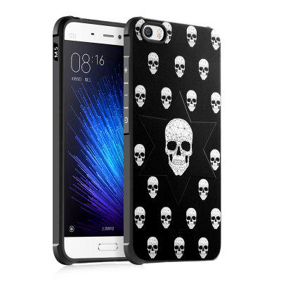 Skull Design Ultra Slim TPU Shockproof Black Silicone Soft Back Case para Xiaomi Mi 5
