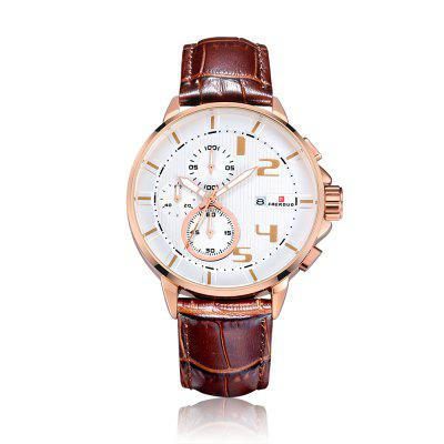 Buy FAERDUO 8211 Mens Chronograph Luminous Hands Date Indicator Fashion Leather Sport Quartz Wrist Watches ROSE GOLD for $55.35 in GearBest store