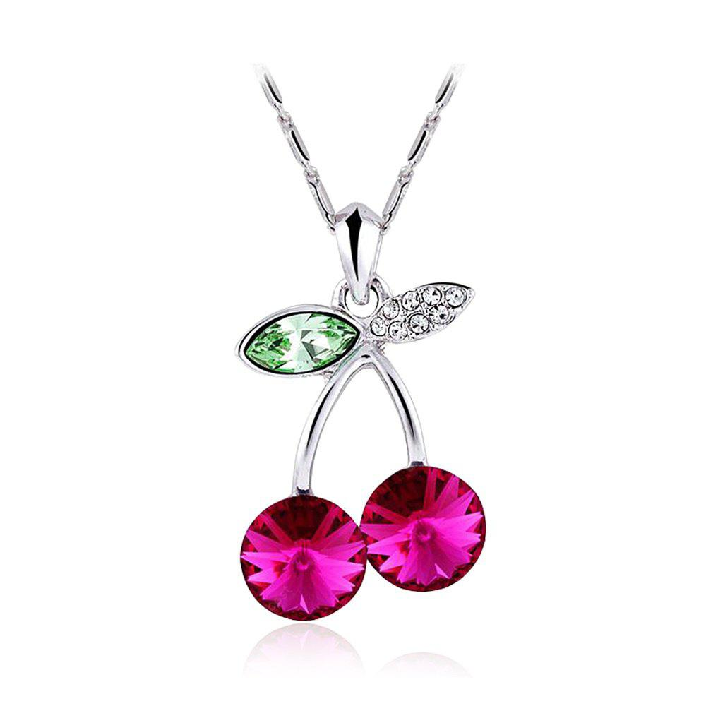 Happy Little Cherry Pétales Rouges Olive Leaves Lovely Cute Necklace