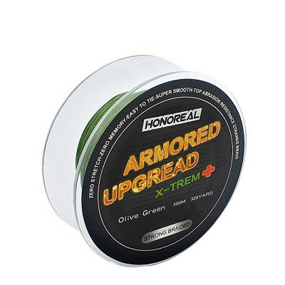 HONOREAL 0.128mm 300m Super Strong Abrasion Resistant Long  Grey and Green Color 4 Strands PE Braided Fishing Line