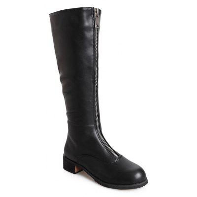 HLN-1719 Pure Color Fashion Zipper Round Head Waterproof Platform Tube Boots