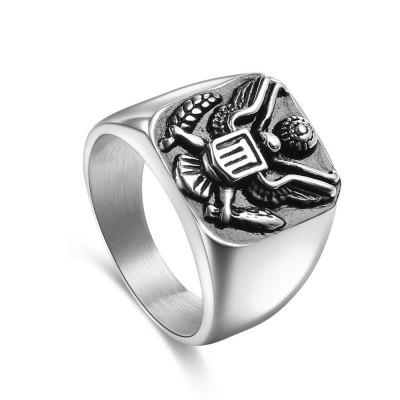 Stainless Steel Ring Military Badge Eagle Men's Jewelry