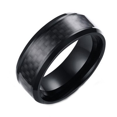 Stainless Steel Ring Carbon Fiber Square Straw Fashion Accessories