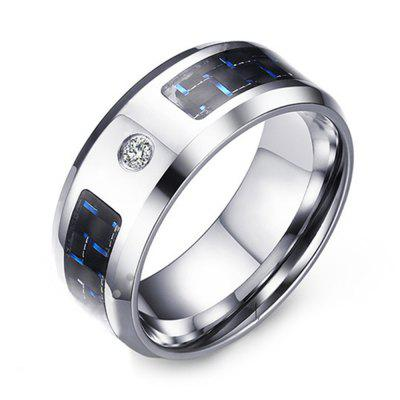 Men's Simple Fashion Trend Jewelry Stainless Steel Blue and Black Carbon Fiber Zircon Ring