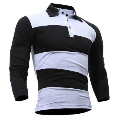 Mens Stripe Printing Long Sleeve Turn-down Collar Slim Fit Casual Shirt