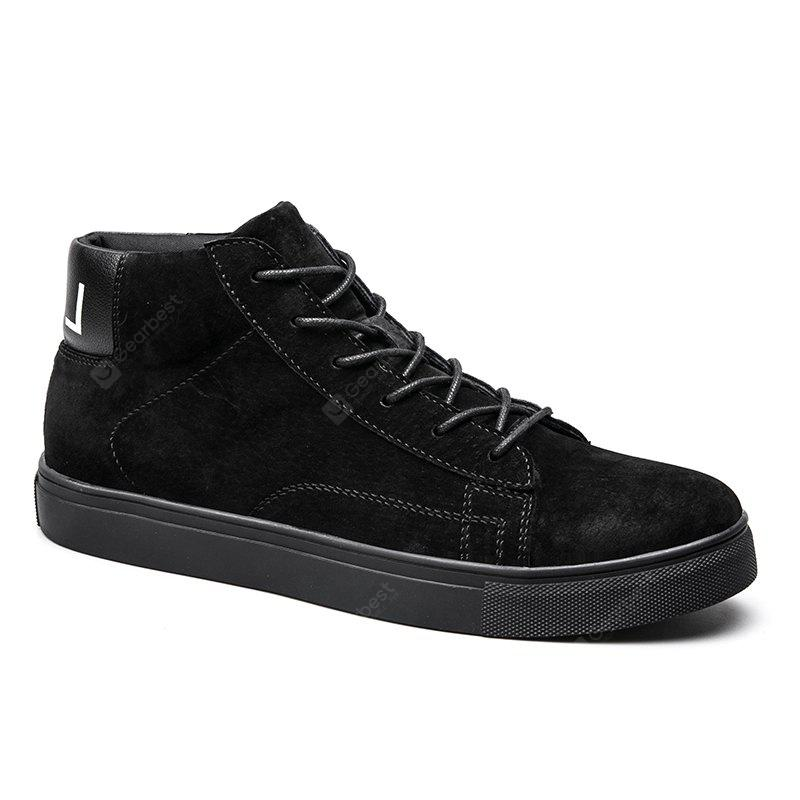 BLACK 40 Men Casual Trend of Fashion Rubber Outdoor Warm Lace Up Ankle Boots