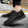 Men Casual Trend of Fashion Rubber Leather Outdoor Slip on Flat Shoes - BLACK