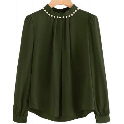 Buy ARMYGREEN M Fashion Nail Bead Chiffon Shirt for $18.86 in GearBest store