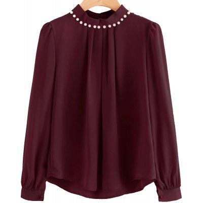 Buy WINE RED L Fashion Nail Bead Chiffon Shirt for $18.86 in GearBest store