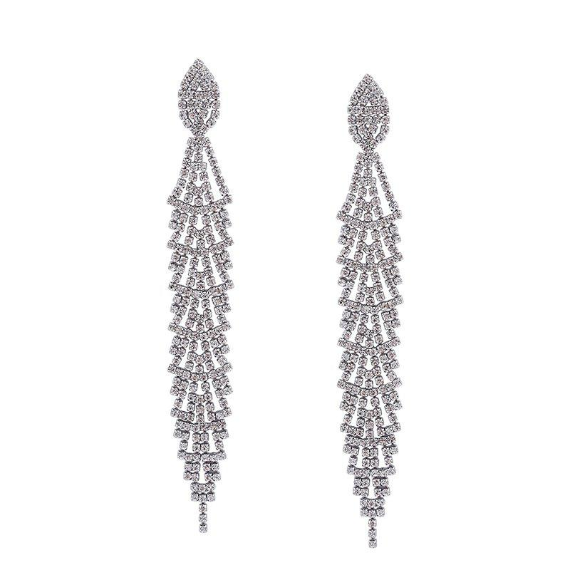 Alliage Strass Long Boucle d'oreille