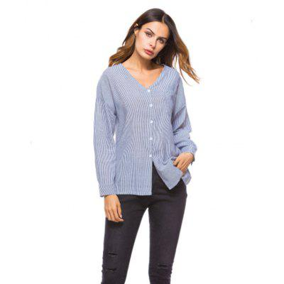 Buy GRAY L European and American Foreign Trade Cross-Border E-Commerce New Finely Striped V Collar Women Shirt for $19.38 in GearBest store
