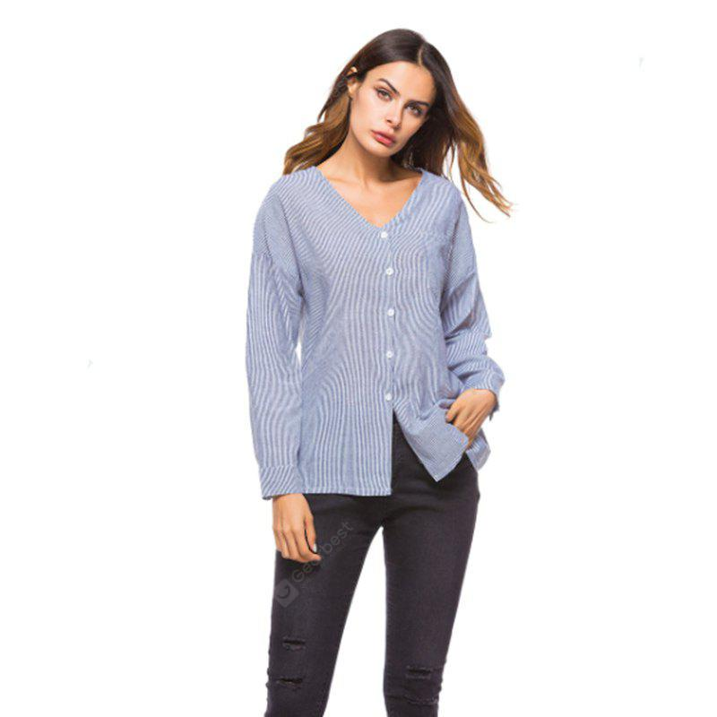 GRAY M European and American Foreign Trade Cross-Border E-Commerce New Finely Striped V Collar Women Shirt
