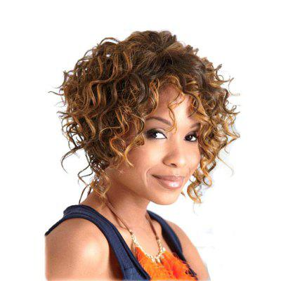 Best Golden Blonde Color Short Curly Synthetic Hair Wig for Women