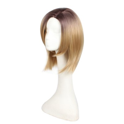 Short Bob Style Middle Part Ombre Dark Root Natural Straight Synthetic Hair Wigs for Women 2016 new style hot sale new style synthetic wigs short straight hair wig for women glamorous fashion free shipping