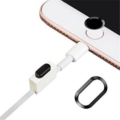 Anti-dust Dust Plug Set Camera Lens Protective Case Cover with Home Button Sticker for iPhone 8 Plus  / 7 Plus