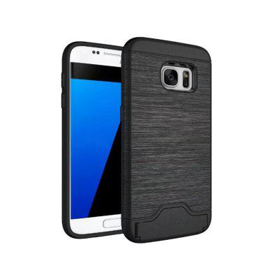 2 in 1 Hybrid Wire Drawing Armor PC +TPU Case With Stand Card Holder for Samsung Galaxy S7