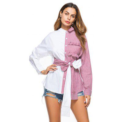 Buy PINK L Asymmetrical Collar BowShort Long Long Shirt Cross Border Women'S Foreign Trade Sourcing for $23.45 in GearBest store