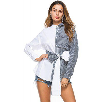 Buy GRAY M Asymmetrical Collar BowShort Long Long Shirt Cross Border Women'S Foreign Trade Sourcing for $23.45 in GearBest store