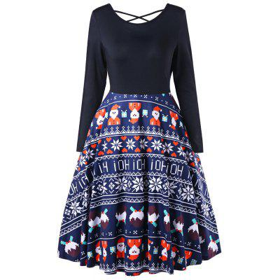 European and American Hot Sale Christmas Old Snowflake Dresses with Long Sleeves
