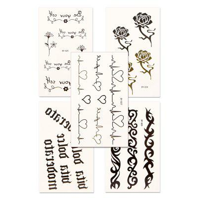 5pcs Women's Tattoo Sticker Set Waterproof Cute Cartoon All Match AccessoryYMBY025-029