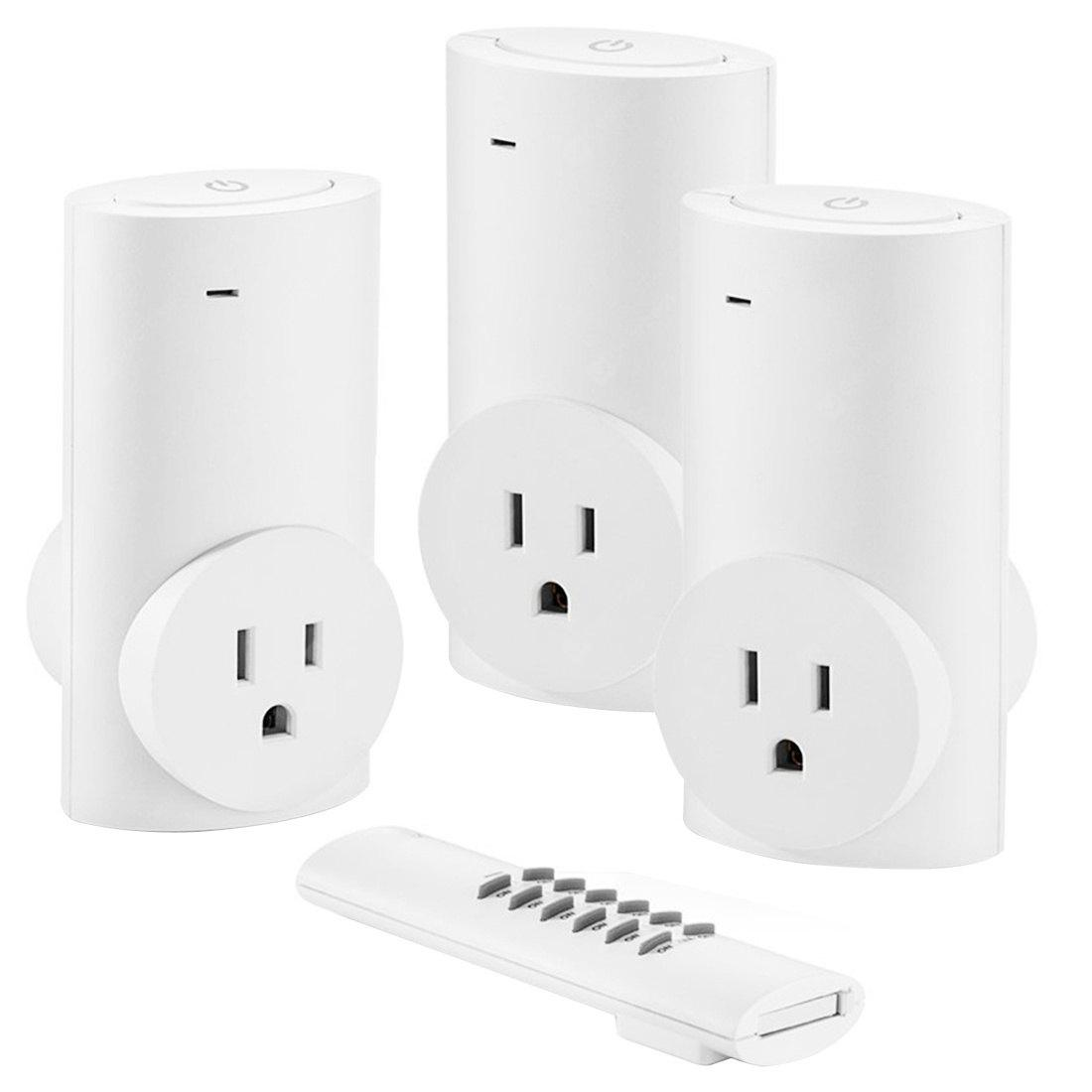 Single Remote Control Three Sockets Wireless Switch Socket White  Europe Standard