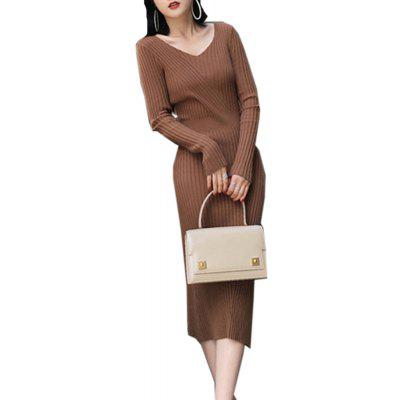 Buy BRICK-RED Women's Sweater Dress V Neck Long Sleeve Solid Color Midi Skinny Dress for $25.49 in GearBest store