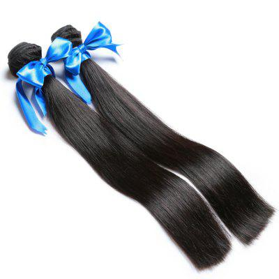 2 Bundle Unprocessed Virgin Indian Straight Human Hair Weaves - Natural Black