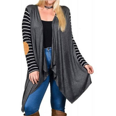 Buy DARK GRAY XL Elbow Patch Stripe Female Cardigan for $17.83 in GearBest store