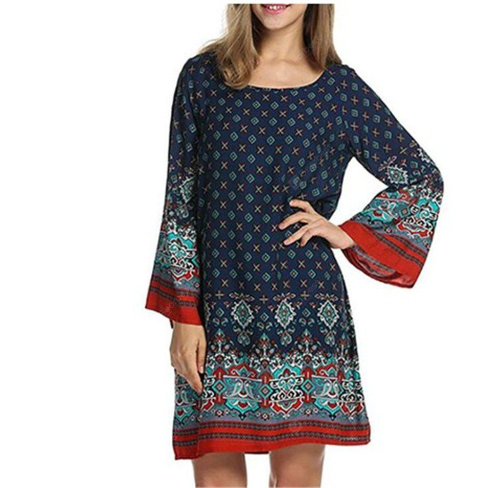 European and American vintage ethnic printed flowers plus size dress