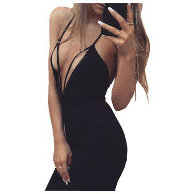 Sexy Night Club in Europe and America Slim Burst Section V-Neck Dress