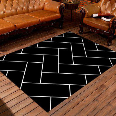 Buy BLACK 80X120CM Bedside Floor Mat Modern Simple Geometric Washable Supple Antiskid Mat for $41.84 in GearBest store