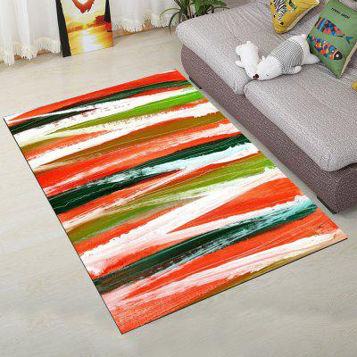 Living Room Door Mat Colorful Stripe Rectangle Shaped Washable Floor Mat
