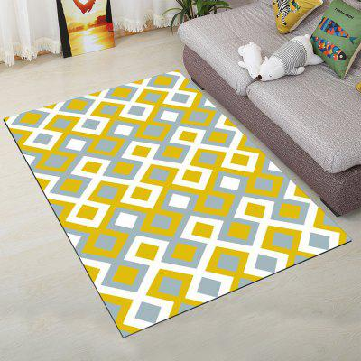 Living Room Floor Mat Brief Style Plaids Design Rectangle Shaped Mat