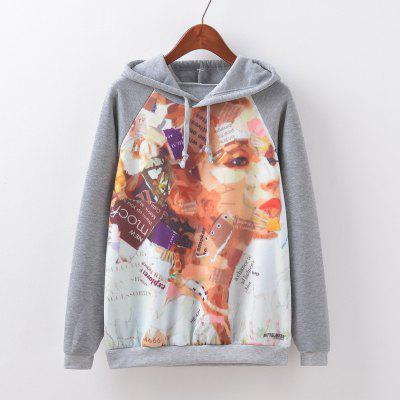 New Fashion Autumn and Winter Women Girl Ladies Long Sleeve Graphic Digital Printed Sportwear Loose Hooded Hoodies Casual Sport Pullover Sweatshirt Outerwear Blouse Tops ZT-G519 Letters Printing