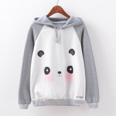 Buy GRAY M New Fashion Autumn and Winter Women Girl Ladies Long Sleeve Graphic Digital Printed Sportwear Loose Hooded Hoodies Casual Sport Pullover Sweatshirt Outerwear Blouse Tops ZT-G599 Panda Printing for $14.79 in GearBest store
