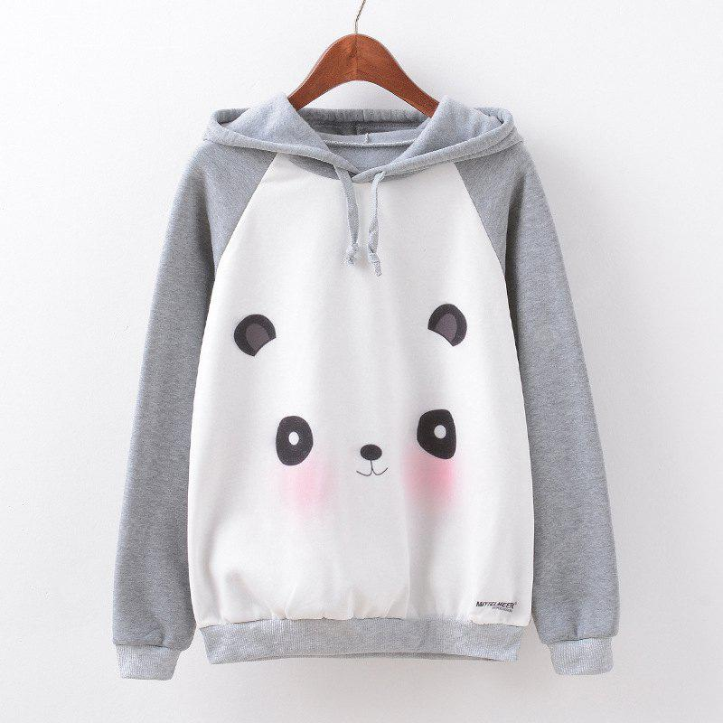 New Fashion Autumn and Winter Women Girl Ladies Long Sleeve Graphic Digital Printed Sportwear Loose Hooded Hoodies Casual Sport Pullover Sweatshirt Outerwear Blouse Tops ZT-G599 Panda Printing