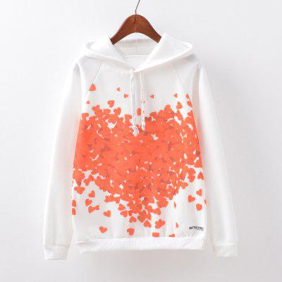 New Fashion Autumn and Winter Women Girl Ladies Long Sleeve Graphic Digital Printed Sportwear Loose Hooded Hoodies Casual Sport Pullover Sweatshirt Outerwear Blouse Tops ZT-G598 Red Heart Printing