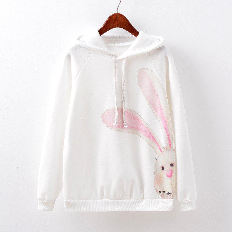 New Fashion Autumn and Winter Women Girl Ladies Long Sleeve Graphic Digital Printed Sportwear Loose Hooded Hoodies Casual Sport Pullover Sweatshirt Outerwear Blouse Tops ZT-G522 Rabbit Printing