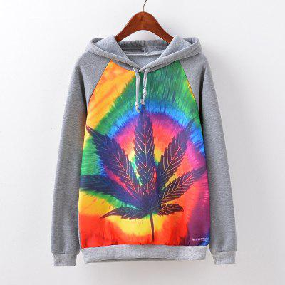 New Fashion Autumn and Winter Women Girl Ladies Long Sleeve Graphic Digital Printed Sportwear Loose Hooded Hoodies Casual Sport Pullover Sweatshirt Outerwear Blouse Tops ZT-G520 Leaf Printing
