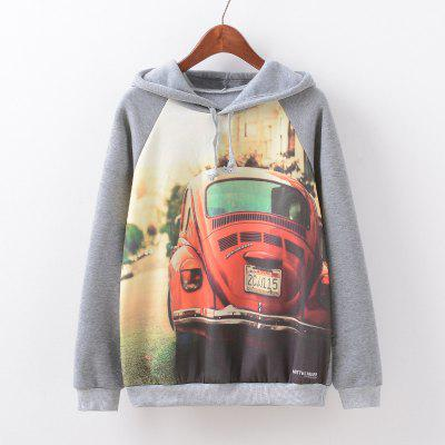 New Fashion Autumn and Winter Women Girl Ladies Long Sleeve Graphic Digital Printed Sportwear Loose Hooded Hoodies Casual Sport Pullover Sweatshirt Outerwear Blouse Tops ZT-G595 Red car Printing